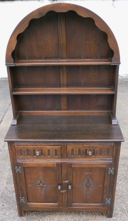 Small Antique Style Elm Dome Top Welsh Dresser By Jaycee